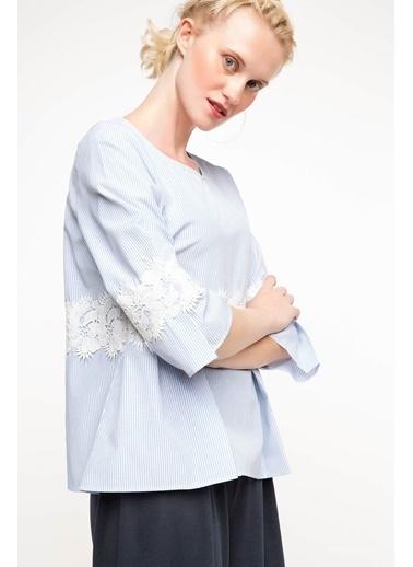 DeFacto Dantel Detaylı Bluz Mavi